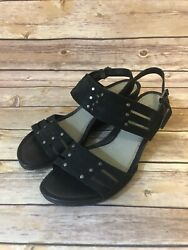 ECCO Strappy Sandals Size 9-9.5 Womens Black Leather Ankle Strap Shoes EUR 40
