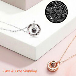 S925 100 Languages Love Memory Wedding I Love You Projection Pendant Necklace