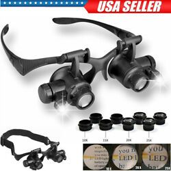 8 Lens Jewelry Watch Repair Magnifier Double Eye Loupe Glasses With LED Light US $9.75