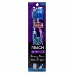 Reach Oral Care Essentials Toothbrush With Brush Cap (2 Count) Blue