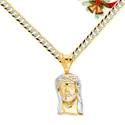 14k Two Tone Gold Jesus Face Pendant Charm Yellow 8.2mm Cuban white pave Chain