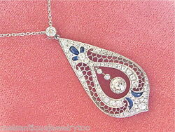 ESTATE EDWARDIAN ART DECO 1.8ctw MINE DIAMOND SAPPHIRE PLATINUM PENDANT NECKLACE
