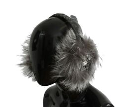 Dolce & Gabbana Gray Fox Fur Crystal Ear Muffs One Size