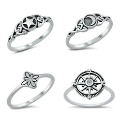 NEW !Sterling Silver DESIGN- CELTIC MOON STAR COMPASS FLOWER RINGS SIZE 4-12