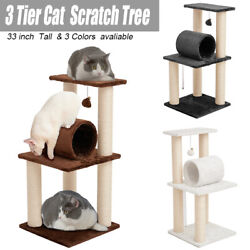 33 inch Cat Tree Play Tower Plush Bed Tunnel Pet Furniture 3.2quot; Scratching Post $32.39