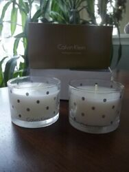CALVIN KLEIN 2.5 oz Set of 2 MAHOGANY WOOD SCENTED Candle Decorative Glass Jar $29.95