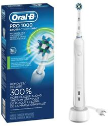 Oral-B White Pro 1000 Power Rechargeable Electric Toothbrush Powered by Braun