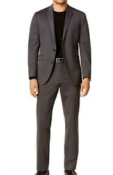 Reaction Kenneth Cole Mens Suit Charcoal Gray Size 44 Two Button Knit $450 072