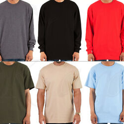Heavy T Shirt Men Heavyweight Thick Long Sleeve Solid Crew Neck Plain Cotton Tee $11.95