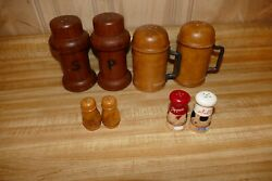 Lot of 4 Wooden Salt Pepper shaker sets Winsome Wood MCM Style Italian Chefs $17.99