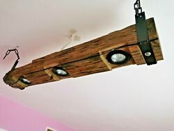 Farmhouse Vintage Rustic Lamp Wood Hanging Chandelier 3 x LEDHandmade $232.00