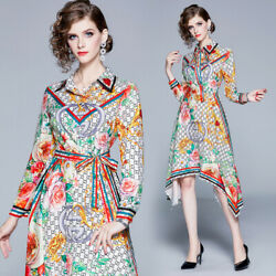 Spring Summer Fall Runway Floral Print Collar Long Sleeve Belt Women Shirt Dress
