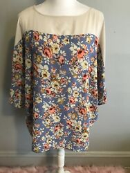 Sun & Moon Size Medium Periwinkle Blue Floral Print Loose Flowy Tunic