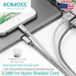 ROMOSS 3.28ft MFI Fast Charging Lead USB Lightning Charger Cable for iPhone iPad $3.99