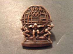 Vintage USA Olympics Pin Atlas Men Holding the World Aminco $8.50
