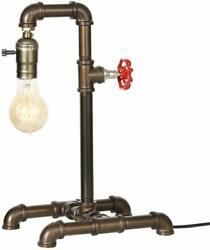 Steampunk Industrial Reading Table Lamp with Switch Water Pipe Desk Light Office $22.99