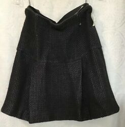 Chanel Skirt Short Black Pleated Silk Wool Knit Glitter Trim Inside Hem Size 42