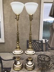 Pair of White and Brass Stiffel Lamps1950#x27;s Porcelain and Brass Urn Lamps $300.00