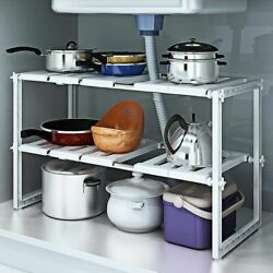 2 Tier Under Sink Rack Adjustable Shelf Storage Organizer Kitchen Bath Holder US $17.52
