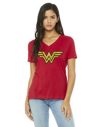 Ladies#x27; Wonder Woman Relaxed Fit V Neck T Shirt $11.00