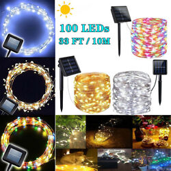 100 LED Solar String Lights Wedding Party Home Yard Garden Waterproof Bulbs