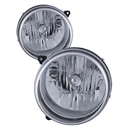 Headlights Halogen Chrome Set Left Right Pair Fits 05-07 Jeep Liberty Suv $49.58