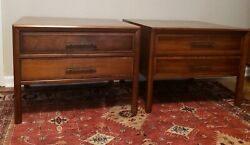 Pair Vintage Mid Century Modern Walnut Nightstands  End Tables 1960s Free ship!