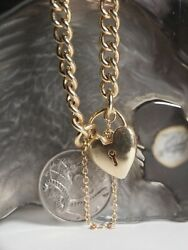 SOLID 9KT YELLOW GOLD CONCAVE LINK BRACELET WITH SAFETY CHAIN & HEART LOCKET !