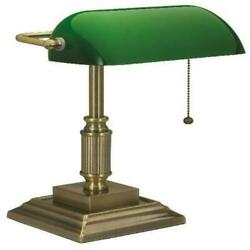 Vintage Bankers Desk Lamp w Green Glass Shade Student Antique Piano Table Light