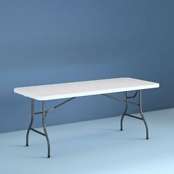 8 Foot Centerfold Folding White Table Room for 8 Chairs Cleans Easily 30quot; wide $97.94