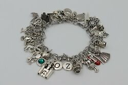 Charm Bracelet WIZARD OF OZ Big Deluxe 35x Charms Stainless Steel Designer Gift $60.00