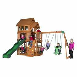 Backyard Discovery All Cedar Outdoor Kids Playground Swing Set Wood Playset Fun