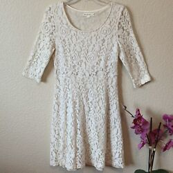 Anthropologie Comme Toi Ivory Floral lace Cocktail Sleeve Dress Size Medium $18.99