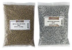 Bottle Seal Wax Beads Wax Bead Color Set Metallic 1lb Gold 1lb Silver $32.98