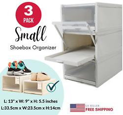 NEW 3pcs Shoe Box Storage Durable Pull Out Clear Drawer Foldable Home Organizer $34.26