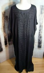 Swim Black Embroidered Sheer Cover Up Pool Beach Plus Size 2 3X NEW DIDI Rayon $24.99