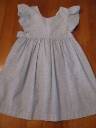 Boutique Cantel Girls Size 4 T Easter DRESS Blue White Floral Print Spring Beach