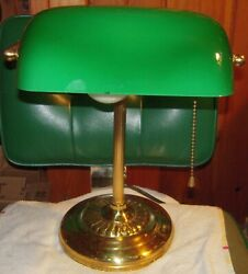 Vintage Brass Bankers Desk Lamp w Emerald Green Glass Shade Chain