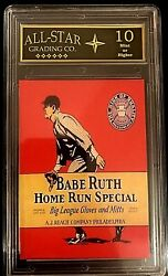 Babe Ruth Spalding Glove Advertising Promo Rp Card Graded 10 $19.95