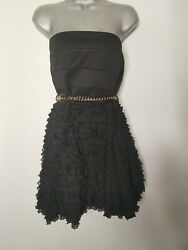 RIVER ISLAND Black Cocktail Dress Size 16 Strapless Ruffle Belt Party Evening GBP 16.00