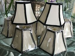 "8 OFF WHITE W BLK BRAID CLIP ON CHANDELIER SHADES 4.5""H x 5"" BASE x 2.5"" $68.00"