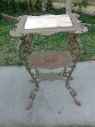 Vintage 19th Century Cast Iron Victorian Table 3 Tiers With Marble Top $900.00