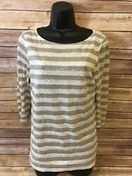 Womens Robert Kitchen Canada 3 4 Sleeve Shirt Size Small Blouse Sequin Striped $14.66