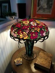 Tiffany style table lamp Glass Shade 3 String Bronze Base $3700.00