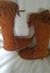 Moccasin Brown Knee High.No Brand Listed. Size 8. Brown.Sm.tear in front. $21.00