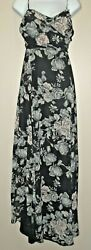 Women SIGNATURE Sleeveless Black Floral Maxi Dress Prom Bridesmaid Formal NWT L $57.95