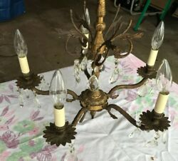 Vintage 5 Light Ceiling Chandelier Brass Ceiling Crystal#x27;s Antique with Bulbs $79.99