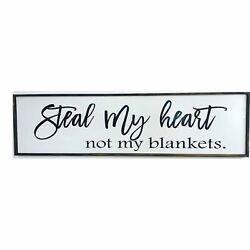 Steal my Heart Not my Blankets sign Extra long over bed wall hanging farmhouse $90.99