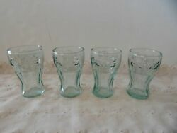 Set Of 4 Vintage Green Glass Coca Cola Coke Glasses 3quot; Mini Glasses Shot Juice $15.00