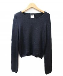 CHANEL Nylon Silk Knit Navy Size: 42